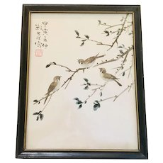 Japanese Wood Block Antique Print  Birds on Branches Wood Enamel Frame Signed