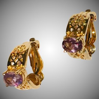 Filigree Gold-Tone Clip Half Hoop Earrings Light Amethyst Crystals In Time for Valentines Day!