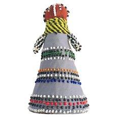 African ceremonial beaded Ndebele  folk art doll, Vintage 1990's