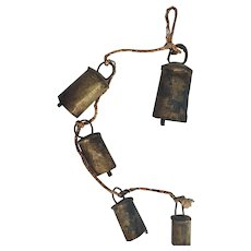 Antique Primitive Hand Forged Cow Bells Collection of 5 Varying Size