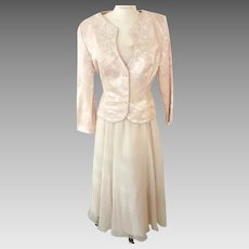 Chiffon Formal Dress Pearl Edged Brocade Jacket  Beaded Alencon Lace Nah Nah Collection