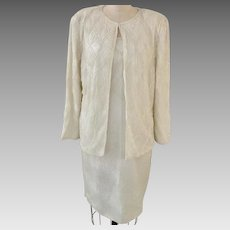 Jewel Queen Vintage Silk Beaded Dress in Ivory with Matching Jacket