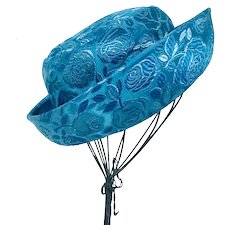 Wide Brim Jacquard Bucket Hat  in Deep Turquoise Blue , 1970's