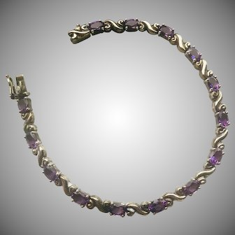 Amethyst and Sterling Silver Art Nouveau Inspired Design Bracelet for your Valentine!