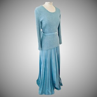 R & K Originals 2 Piece Party Dress Belted Blue Knit Lurex Top over Pleated Formal Skirt