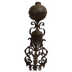 Victorian Wrought Iron and Mixed Metal Oil Lamp with Cherubs on the Base