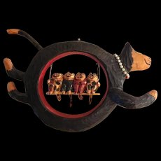 Handcarved Wood Floating Cat and Kittens Whimsical Folk Art Sculpture by Ray Briscoe