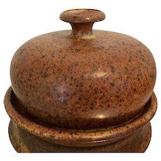 Studio Pottery Round Covered Dish in an Earth Tone Speckle Finish