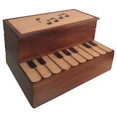 Handmade Linden Wood Music Keepsake Piano Secret Jewelry Box