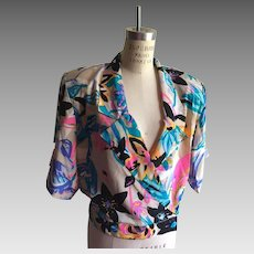 Flora Kung Silk Summer Exclusive Print Crossover Blouse  1980's