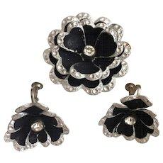 Black Aluminum Brooch & Clip Earring Vintage Set from Germany