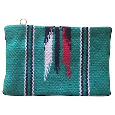 1930's Chimayo Original Purse in Rarely Found Green with Traditional Native American Design