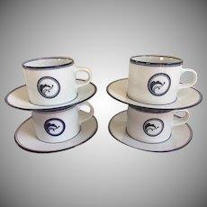 Dansk Flora Juniper Blue Set of Coffee Cups & Saucers