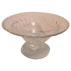 Fostoria Laurel Etched Glass Footed Compote, 1940's