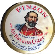Celluloid Advertising Pin Holder Pinzon All Havana Cigar from the M. Perez Co. circa 1900 - 1910