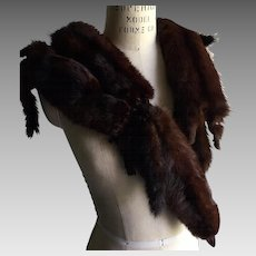 1930's Natural Ranch Mink Tippet/Stole with Tortoise Shell Closure
