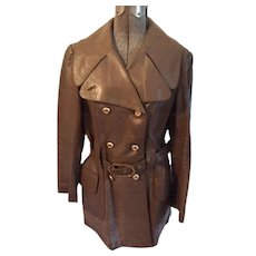Double Breasted  Leather Short Trench from Montgomery Ward, Circa 1960's