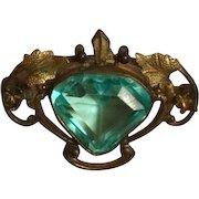 Art Nouveau Brass and  Aqua Czech Glass Brooch, circa 1920
