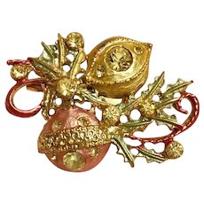 Holiday Christmas Guilloche Brooch with Ornaments and Crystals