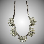 Vintage Rhinestone Necklace with Marquis, Baguette & Brilliant Cut Stones