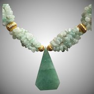 Vintage Aventurine Quartz Multi Strand Necklace with Large Pendant
