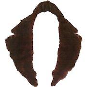 1950's Natural Mahogany Brown Notched Mink Collar