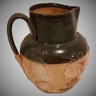 Antique Doulton Lambeth Salt Glazed Jug with Hunt Scene