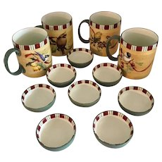 Lenox Winter Greetings Everyday Set of 4 Mugs and 8 Condiment Dipping Bowls,