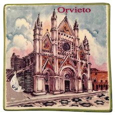 Orvieto Gothic Cathedral Painted Tile from Italy