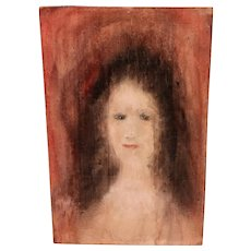 Vintage Portrait of a Lady a  Haunting Image Original Pastel on Board, unsigned