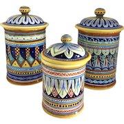 Vintage Fratelli Mari  Deruta, Italy Set of 3 Italian Handpainted Ceramic Lidded Cannister/Jars