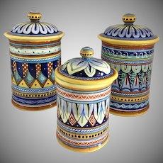 Vintage Fratelli Mari  Deruta, Italy Set of 3 Italian Handpainted Ceramic Lidded Canister/Jars