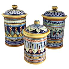 Vintage Fratelli Mari  Deruta, Italy Set of 3 Italian Handpainted Ceramic Lidded Cannister/Jars