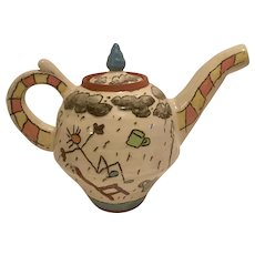 """Handpainted Signed """"Perfect Storm"""" Whimsical Teapot"""