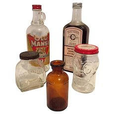 Vintage Advertising Bottles - Old Manse, Watkins, Ben Hur, Lysol, Donald Duck Kiddie Bank