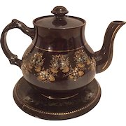Vintage Gibson and Sons Bursalem Decorated English Teapot on Plate