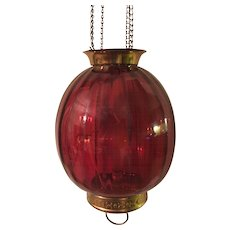 Cranberry Glass and Brass Hanging Pendant Light Fixture