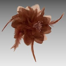 Vintage Handcrafted Millinery Fascinator/Brooch  in Chocolate Brown