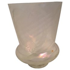 Vintage Etched Irridescent/Opalescent Swirled Lampshade with Ornate Design