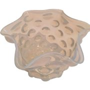 Hobbs Antique Opalescent Waved Edge Coin Dot Lamp Shade in Clear to White