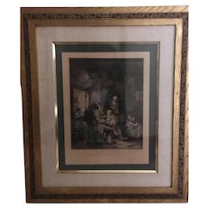 Antique Etching of Peasant Family 1921  Hurst, Robinson & Co
