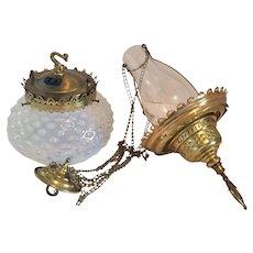 Hobbs Antique Opalescent Pendant Kerosene/Oil Lamp