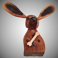 Vintage Folk Art  Hand Carved and Crafted Dog Clock