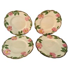 Set of 4 Franciscan Desert Rose Bread and Butter Plates, circa 1950s