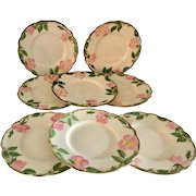 Franciscan Desert Rose Set of 8 Bread and Butter Plates, circa 1940s