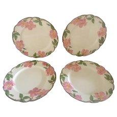 Set of 4 Franciscan Desert Rose Dinner Plates, circa 1950s