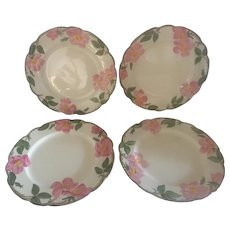 Set of 4 Franciscan Desert Rose Dinner Plates, TV Hallmark, Circa 1958-62