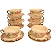 Set of 8 Franciscan Desert Rose Cups & Saucers plus 2 Extra Saucers