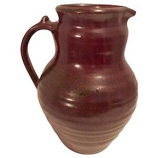 Vintage Studio Pottery Chocolate Brown Pitcher, stamped on the bottom