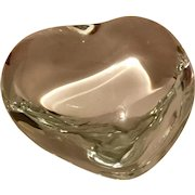 """Baccarat Signed Puff Heart Paperweight in Original Box Vintage """"New"""""""
